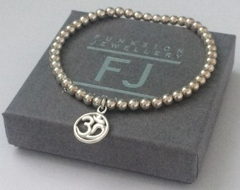 Sterling Silver Om Charm Beaded Bracelets for Women, Handmade Spiritual Ohm Jewelry in Custom Sizes
