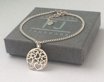 Heart Bracelet, Multi Heart Disc Charm, Sterling Silver Jewelry, Dainty Gift for Women, Adjustable, Curb Chain, Handmade, Boho, Gift Box
