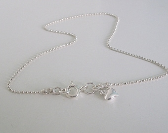 Sterling Silver Heart Charm Anklets, Dainty Silver Beaded Ankle Chain for Women, Ankle Bracelet, Gift Idea for Women, Girls gift, handmade