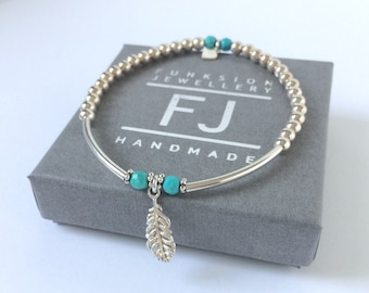 Sterling Silver and Turquoise Bracelet, Feather Charm Bangle, Gift for Women, 4mm Beads, Handmade, Stretch, Beaded, Custom Sizes