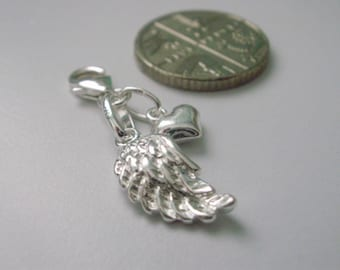 Clip on Angel Wing and Tiny Heart Charms for Bracelet, Necklace, Pendant, Choose Clasp, Gift for women, Gift Box, Personalise