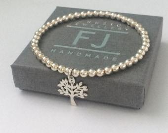 Sterling Silver Tree of Life Charm Bracelet, Gift for Women, Personalise, Handmade, Custom Sizes, Stretch, 4mm Ball Beads, Gift Box