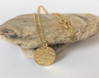 Dainty Gold Full Moon Necklace, Hammered Disc Pendant, Simple Gold Vermeil Jewellery, Gift for Women, Handmade, UK, Custom Sizes