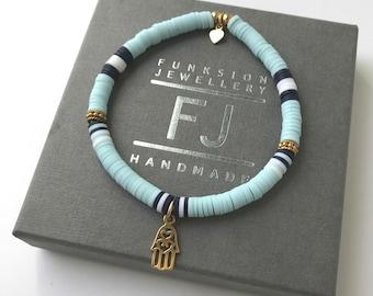Gold Bead Stretch Bracelet for Women, Hamsa Charm, Blue Heishi Beaded, Handmade Gift for Her, Custom Sizes