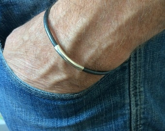 Mens Leather Bracelet, Sterling Silver Beaded, Grey Thong, Slim Cuff Wristband, Handmade, Custom Sizes, Gift Box