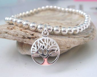 Sterling Silver Beaded Tree of Life Disc Charm Bracelet,  Handmade Gift for Women in Custom Sizes