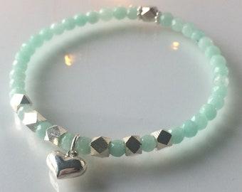 Sterling Silver and Turquoise/Aqua Beaded Bracelet, Heart Charm Bangle, Semi Precious Jade, Handmade Gift for Women, Custom Sizes, Gift Box