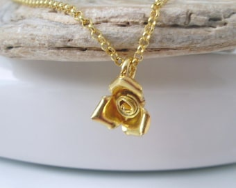 Dainty Gold Necklace, Rose Charm Pendant, Minimal Gold Vermeil Chain, Gift for Women, Handmade, Gift Box, 18 inch or 20 inch