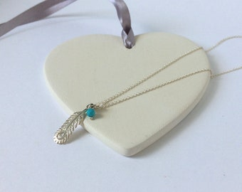 Necklace for Women, Dainty Turquoise Silver Jewelry, Peacock Feather Pendant, Sterling Silver, Layering, Gift for Her