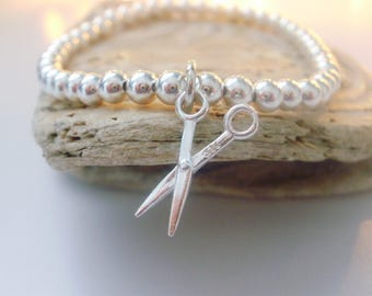 Sterling Silver Bracelets for Women, Scissor Charm, Hair Stylist Gift, Beaded, Stretch, Handmade, Custom Sizes, Gift Box