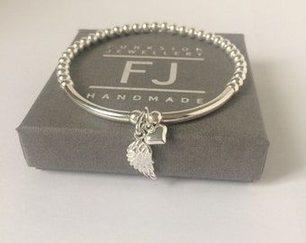 Sterling Silver Bracelets for Women, Angel Wing Heart Charms, 4mm Beaded Gift for Her, 925 Stretch Silver Jewelry, Handmade, Custom Sizes