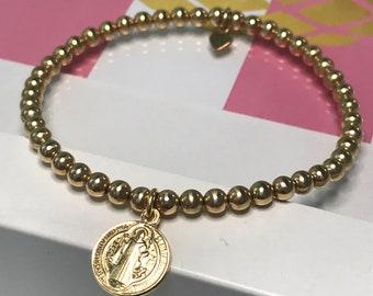 Gold Coin Bracelet, 4mm Stretch Gold Filled Beaded Bracelet, UK Handmade Religious Charm Bracelet, Gift for Women, Custom Sizes, Gift Boxed