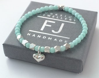 Sterling Silver and Turquoise/Aqua Beaded Bracelet, Heart Charm Bangle, Semi Precious Jade, Handmade Gift for Women, Custom Sizes, Gift Box