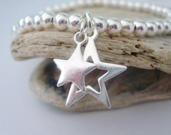 Sterling Silver Bracelet, Double Star Charms, 4mm Ball Beads, Celestial Jewellery, Handmade Gift for Women, Custom Sizes, Boxed