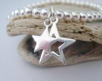 Sterling Silver Stretch Beaded Bracelet, Star Charms, 4mm Ball Beads, Celestial Jewellery, Handmade Gift for Women, Custom Sizes,