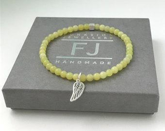Sterling Silver Lime Jasper Beaded Intention Bracelet, Calm & Stress Relief Jewelry, Stretch Bracelet, Choose Charm, Handmade Gift for Women