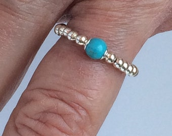 Sterling Silver Turquoise Rings, Handmade Stretch Gemstone Beaded Ring for Fingers, Thumbs & Toes, Gift for Women