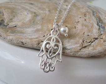 Sterling Silver Charm Necklace, Hamsa Hand Pendant Necklace, Silver Necklace Chain, Hamsa Necklace, Dainty Layering Necklace, Personalize