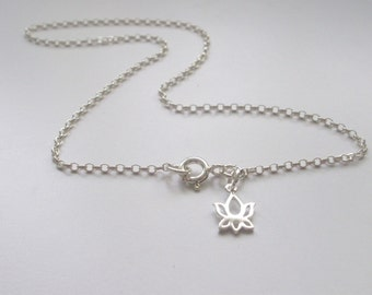 Tiny Lotus Flower Anklets for Women, Sterling Silver Ankle Chain Charm Bracelet, Handmade Yoga Lovers Gift, Custom Sizes