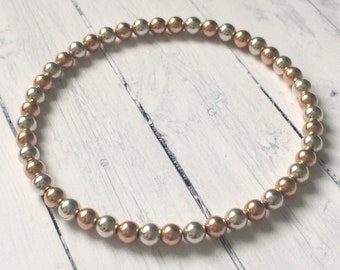 Simple Sterling Silver and Rose Gold Filled 4mm Beaded Bracelets for Women, Handmade Stretch Bead Bracelet, Gift for Her, Custom Sizes