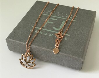 "Lotus Flower Necklace, Rose Gold Necklaces for Women, Flower Charm Pendant in 16"",18"", or 20"", UK Handmade, Gift Boxed"