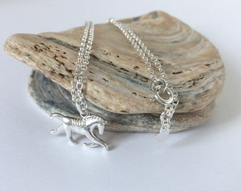 Sterling Silver Horse Necklace, Solid Silver Charm, Handmade Gift for Girls, Horse Lovers, Custom Sizes, Gift Box, UK
