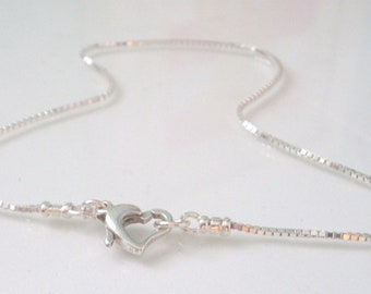 Sterling Silver Anklet, Box Chain with Heart Clasp, Sparkling Ankle Bracelet, Gift for Her, Custom Sizes, Gift Box, Handmade