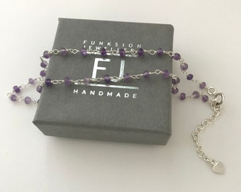 Sterling Silver & Amethyst Beaded Anklet with Tiny Heart Extender, Handmade Gift for Women