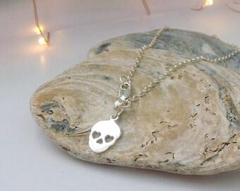 Sterling Silver Ankle Bracelet, Silver Skull Charm Anklet, Silver Ankle Chain, Festival, Boho, Sugar Skull anklet, gift for Women, handmade