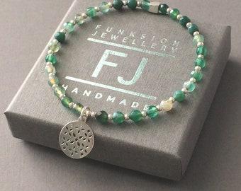 Green Agate Bracelet, Sterling Silver Beaded & Disc Charm, Semi-precious Beads, Handmade Gift for Women, Custom Sizes, Gift Box