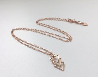 Rose Gold Pendant Necklace, Dainty Arrow / Geometric Triangle Charm, 18k Vermeil Chain, Handmade Boho Gift for Women, Choose Size