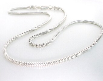 Mens Sterling Silver Necklace, Solid 2.4mm Round Snake Chain, Handmade Gift for Women, Custom Sizes 18-25""