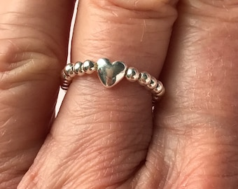 Sterling Silver Heart Ring for Women, Stacking Round Stretch Thumb / Toe Ring, Handmade Gift for Her