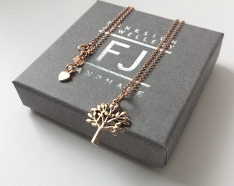 Tree of Life Necklace Gift for Women, Rose Gold Pendant Tree Charm on 18k Vermeil Mini Belcher Chain, Custom Sizes, Handmade