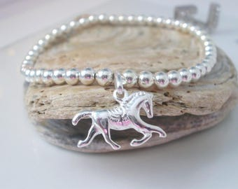 Sterling Silver Horse Charm Bracelet, Stretch Beaded Bracelet, Gift for Horse Lovers, Equestrian Theme, Handmade in Custom Sizes, UK