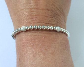 Sterling Silver Stretch Beaded Bracelets, Sparkling Stardust Bead Bangles in Custom Sizes, Handmade Gift for Women