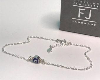 Blue Evil Eye Sterling Silver Anklet, Ankle Bracelet with Extender & Tiny Heart Charm, UK Handmade Adjustable Gift for Women, Custom Sizes