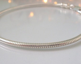 Sterling Silver Snake Chain Bracelet, 2.4mm, with Clasp, Gift for Women, Girlfriend, Personalise, Handmade, Custom Sizes, Add Charms, Unisex
