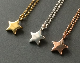 Star Necklace, Gold / Silver / Rose Gold Necklace for Women, 18k Gold on Sterling Silver, Vermeil Jewelry, Handmade Tiny Star Gift for Women