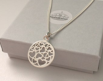 Sterling Silver Heart Necklace, Small Hearts Love Pendant, Dainty Curb Chain, Adjustable, Handmade, Gift for Women, Gift Boxed, Custom Sizes