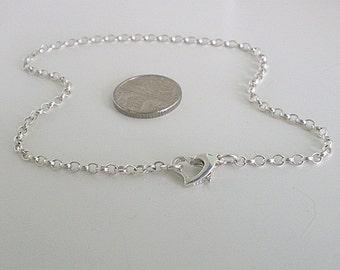 Sterling Silver Anklet for Women, Heart Clasp Ankle Bracelet, Belcher Ankle Chain, Heart Anklet, Gift for Girls, Bridal Anklet, Handmade
