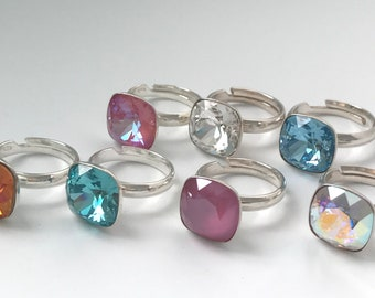 Sterling Silver Rings with Stone, Statement Cocktail Ring, Fancy Swarovski Crystal, Gift for Women, Adjustable, Choose Colour, Gift Box