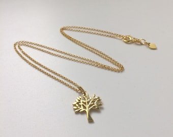 Tree of Life Necklaces for Women, Dainty Gold Chain and Pendant, Gold Vermeil Jewelry, Gift for Her, Best Friend, Handmade, Custom Sizes