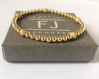 Gold Filled Bead Bracelets for Women, 14k Smooth & Sparkling Stardust Beads, Handmade Stretch Beaded Gift for Women UK, Custom Sizes