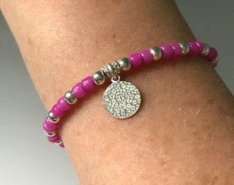 Pink leopard Toho Beaded bracelet Sterl Silver Charm Bracelets for Women, Colorful Lucky Charm Hope Bracelet, UK Handmade Gift, Custom Sizes