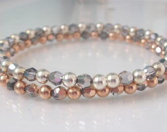 Swarovski Crystal Sterling Silver or Rose Gold Stretch Beaded Bracelets, Sparkling Handmade Gift for Women, Custom Sizes