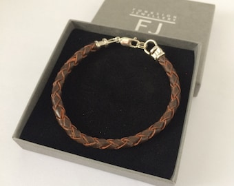Leather Braid and Sterling Silver Bracelet for Men, 5mm Brown Braided Thong Wristband, Custom Sizes, Handmade, Gift Box