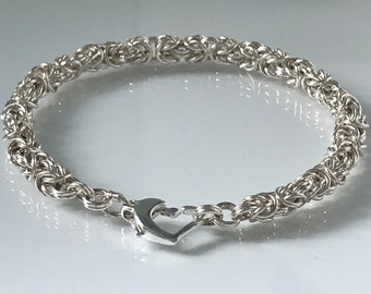 Sterling Silver Bracelets for Women, Silver Multi Link Chain, Charm Bracelet with Heart Clasp, Gift for Her, Custom Sizes, Handmade
