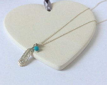 Sterling Silver Feather Pendant Necklace, Gift for Women, Turquoise & Silver Jewelry, Peacock Feather Charm, Dainty Layering Gift for Her