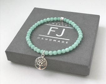 Sterling Silver Tree of Life Charm Bracelet for Women, Jade Beaded Intention Bracelets, UK Handmade Gift for Women, Custom Sizes